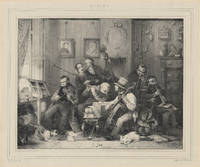 Lithograph of a group of 19th century instrumentalists by H.J. Backer after a drawing by David...