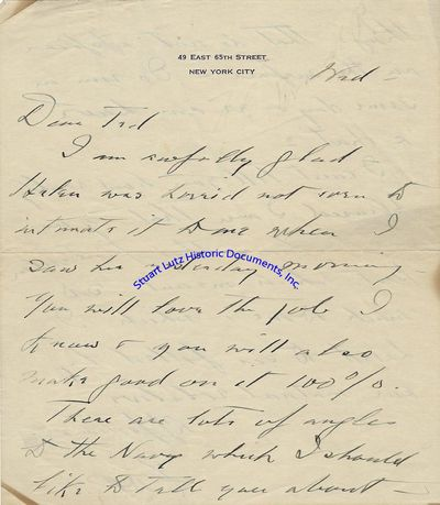 """FRANKLIN D. ROOSEVELT (1882-1945). Roosevelt was the Thirty-Second President. ALS. 2pg. 6"""" x 7""""...."""