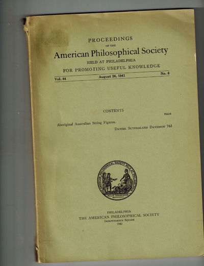 Philadelphia: The American Philosophical Society, 1941. RARE. Very Good, from the collection of note...