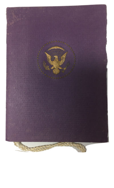 , 1973. Very Good. Violet outer cover, with gilt-printed seal on front, contains a four-page program...