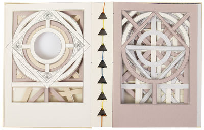 24 hand-cut pages with intricate geometric designs. 8vo (200 x 160 mm.), hand-sewn to a pleat by the...