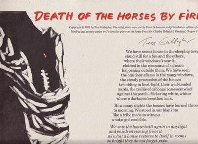 Portland: Charles Seluzicki, 1983. First edition. Broadside. 14 x 20 inches.One of 170 copies signed...