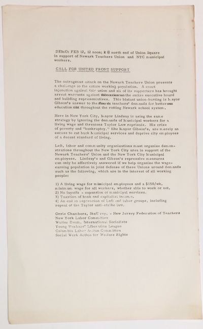 New York, 1971. 8.5x14 inch handbill, mimeographed one side, asking New Yorkers to rally in solidari...