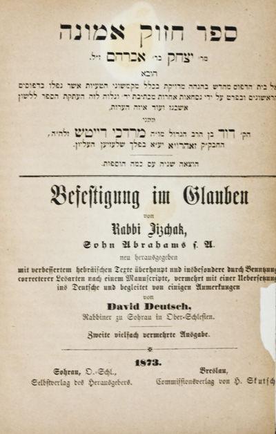 Sohrau: Selbstverlag des Herausgebers, 1873. Zweite vielfach vermehrte Ausgabe (Second edition). Har...