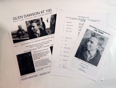 var. Five items relating to Glen Dawson: 1. Glen Dawson's Centennial Birthday Party, 2012, single sh...