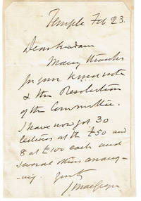 image of AUTOGRAPH LETTER SIGNED by the Scottish Sportsman_Explorer JOHN MACGREGOR, who is said to have practically invented the