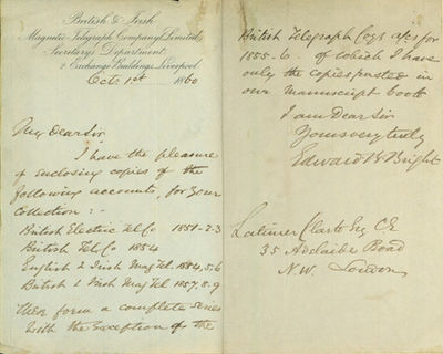 1860. Bright, Edward Brailsford. A.L.s. to Latimer Clark. Liverpool, October 1, 1860. 2pp. 201 x 127...