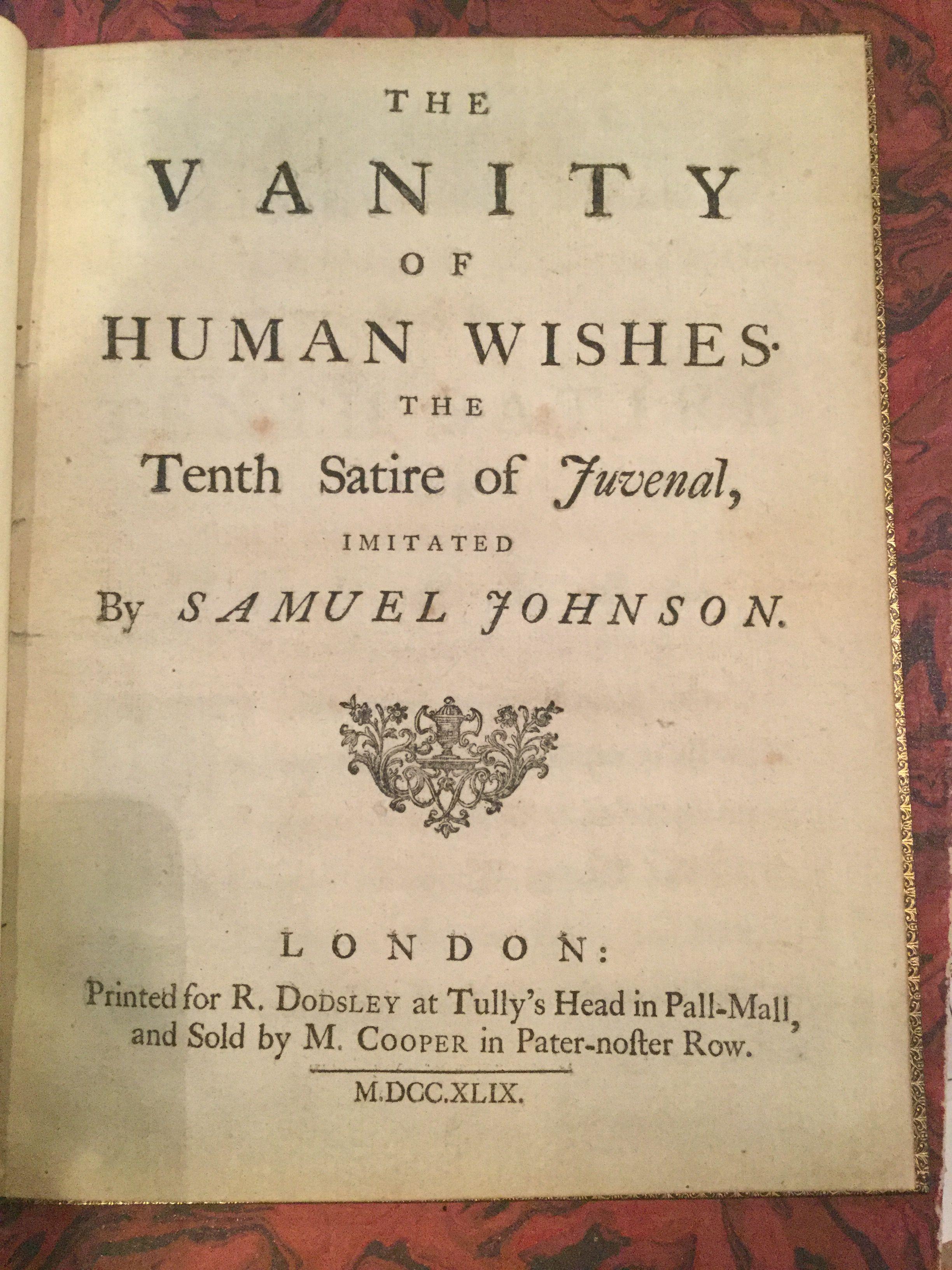 samuel johnson the vanity of human Neilay patel michael duke samuel johnson  neilay patel michael duke samuel johnson  the vanity of human wishes , london ,.