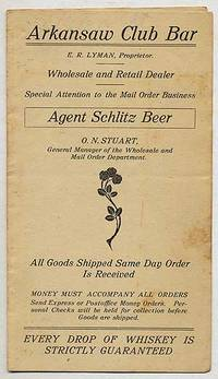[Pamphlet]: Arkansaw Club Bar. E.R. Lyman, Proprietor. Wholesale and Retail Dealer. Special Attention to the Mail Order Business. Agent Schlitz Beer