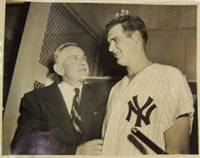 """Boss Man Stengel Pats Larsen on the Dome"", Original Photograph of Casey Stengel and Don Larsen after Larsen's Perfect Game in the 1956 World Series"