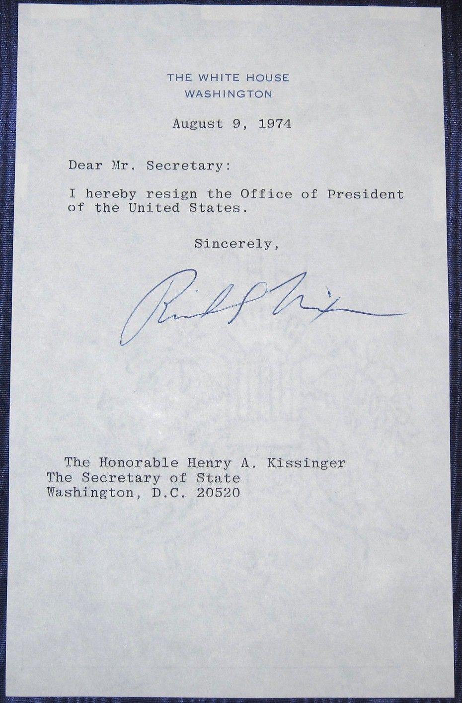 Copy Of Nixon S Resignation Letter 28 Images Souvenir Richard