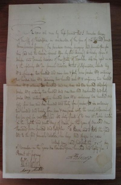 1786. unbound. Exceedingly rare and historically important autographed document signed, 2 pages (fro...