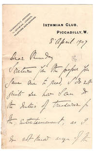 ALS on Isthmian Club, Piccadilly stationery, from Lord Devon to [Mundy], April 8, 1907