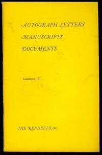 Autograph Letters, Manuscripts, Documents (Catalogue 161)