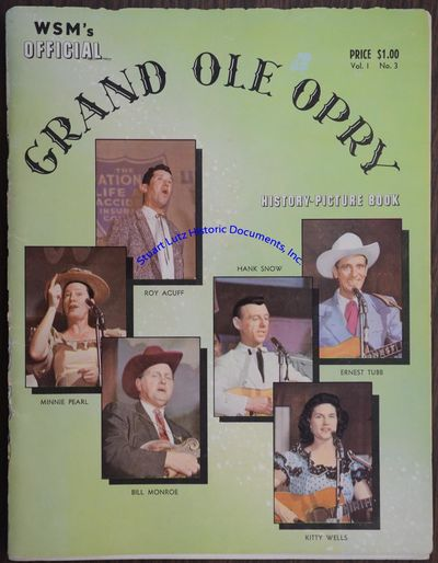 """(GRAND OLE OPRY). SB. 64pg. 8"""" x 10"""". No date . No place . A soft cover booklet entitled WSM's..."""