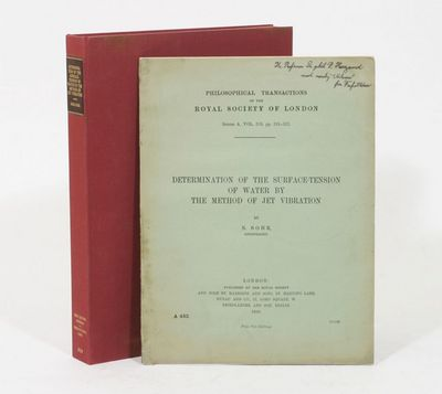 London: The Royal Society, 1909. 1st Edition. Soft cover. Fine. FIRST EDITION OFFPRINT, PRESENTATION...