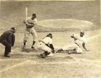 """It's a Steal, All Right"", Original Photograph of Jackie Robinson Stealing Home Against the Yankees in the 1955 World Series"