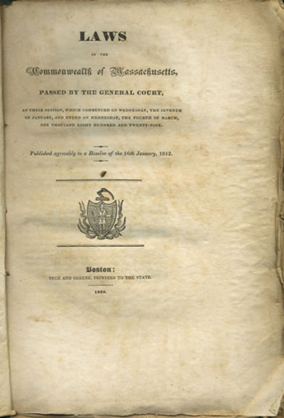 Boston: True and Greene, 1829. First edition. Stitched paper wrappers. Lacking the spine and rear wr...