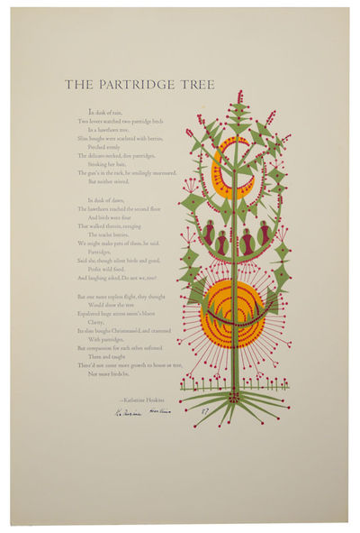 San Francisco, CA: Poems in Folio, 1957. First edition. Broadside printed in several colors that mea...