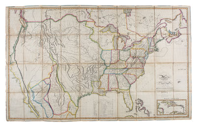 Philadelphia, 1818. Engraved map, with full period hand colouring, dissected into 40 sections and li...