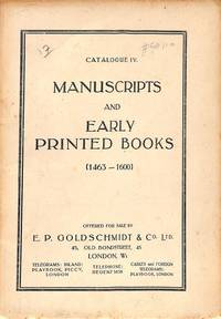 Catalogue IV, No date: Manuscripts and early printed books (1463-1600).