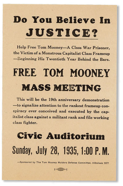 San Francisco: Tom Mooney Molders Defense Committee, 1935. First Edition. Small broadside flyer (21....