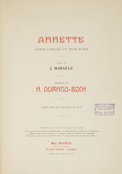 Paris: Max Eschig , 1912. Folio. Original publisher's ivory wrappers printed in red and black. 1f. (...