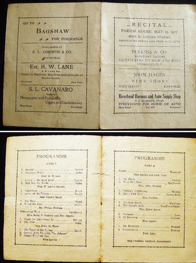 Riverhead Long Island New York: Not Published, 1917. Small folding program for this event; centerfol...