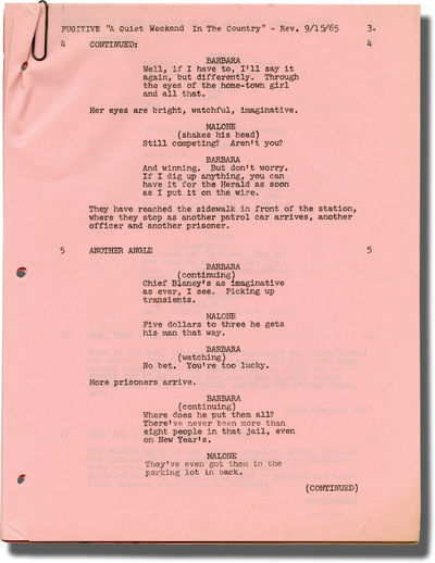 Burbank, CA: American Broadcasting Company , 1965. Revision pages for two episodes of