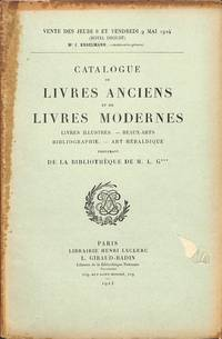 Vente 8-9 Mai 1924 : Livres Anciens et Modernes, Livres Illustrés,  Beaux-Arts, Bibliographie, Art Hieraldique Provenant De La Bibliothèque De  M.L.G.***
