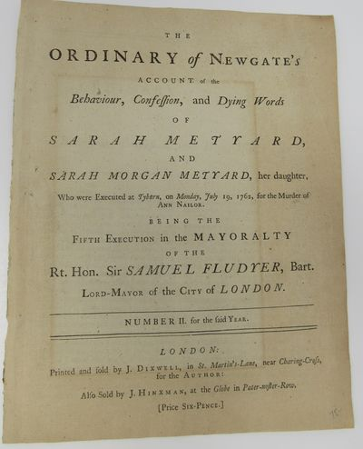 The Ordinary of Newgate's Account of...