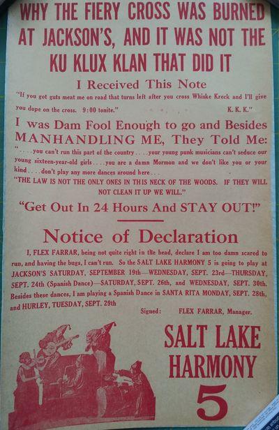 , 1925. Handbill advertising a performance of the Salt Lake Harmony 5 at Jackson's (likely Silver Ci...