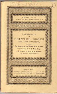 Sale 14th-15th July 1927, Catalogue of Printed Books & Few Manuscripts,  Mrs. De Grey / Mrs. P.G. Ganson / J.B.Manor / G.H.Field, Esq