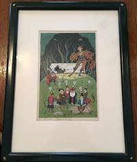 WATER COLOUR PAINTING OF SNOWDROP (SNOW WHITE) AND THE SEVEN DWARVES. Original watercolour Illustration published in Grimm's Fairy Tales