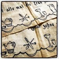 [EMBROIDERY] [DOMESTIC] Embroidered table runners or possibly edgings for drapes or curtains with Cookery motifs