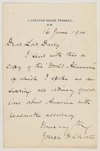 image of Autograph Letter Signed to Horace, (Joseph Hodges, 1832-1917, Lawyer and Orator, U.S. Ambassador to Great Britain 1899-1905)