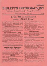 Biuletyn Informacyjny Powiatowego Wydziału Informacji i Propagandy w Kościanie [Information bulletin of the Kościan county department of Information and Propaganda]. Vol. I, nos. 23, 29, 34, 37, 41, 49, 50, 68