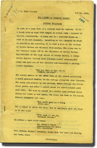 Hollywood: Paramount Pictures, 1929. Early Treatment script for the 1929 film, the first Sherlock Ho...