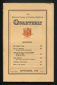 Los Angeles: Historical Society of Southern California. Very Good+. 1950. (Vol. XXXII, No. 3). Journ...