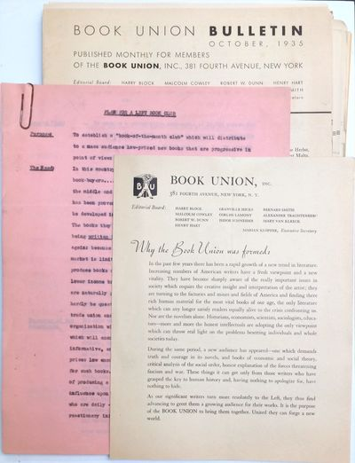 New York: Book Union, Inc, 1939. Thirty-eight issues of the monthly bulletin, mostly four pages, siz...