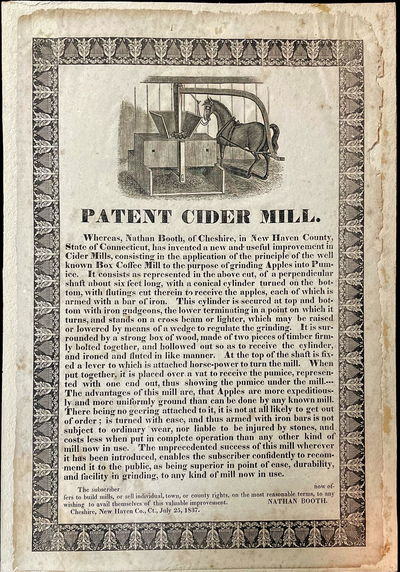 Patent Cider Mill - Woodcut of Horse...
