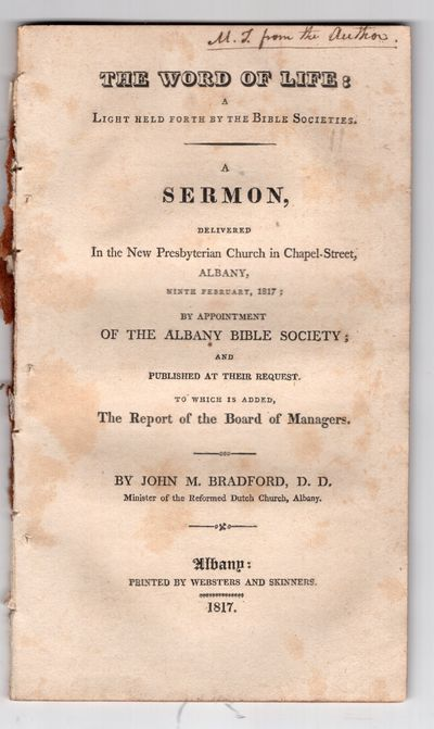 Albany : Websters and Skinners, Printers , 1817. First Edition. Pamphlet. Very good. 48p., removed, ...