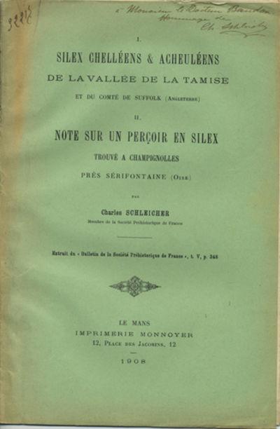Le Mans, France: Imprimerie Monnoyer, 1908. Offprint. Paper wrappers. A very good copy.. 4 pp. Illus...