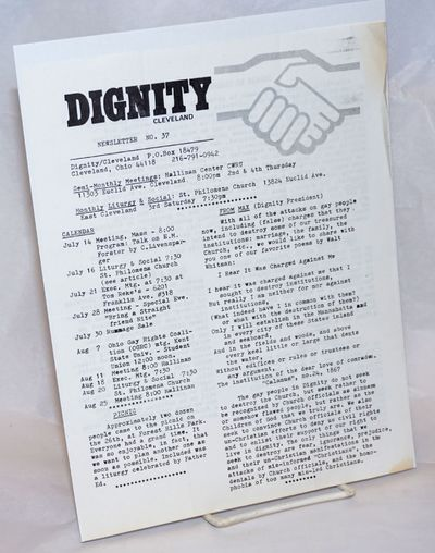 Cleveland: Dignity Cleveland, 1977. Single sheet issue of the newsletter on 8.5x11 inch sheet printe...