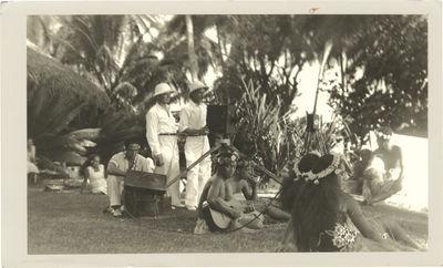 N.p.: N.p., 1930. Vintage photograph of F.W. Murnau, cinematographer Floyd Crosby, a sound engineer,...