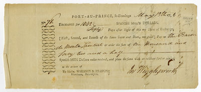 Port-au-Prince, 1796. Broadside, 4 x 9 1/2 inches, docketed on verso. Minor toning and edge wear. Ve...