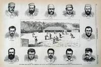 The Cricket Match between the Australians and the New Yorkers, with Portraits of the Australians.  from Sketches and Photographs.    Engraving