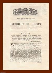 PENSION ACTS, 1809-1827. An interesting selection of 6 original Acts of Parliament