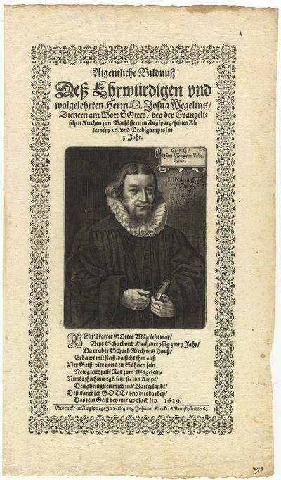 Augsburg: Johann Klockers, 1629. Three-quarter length. With letterpress text and poem within decorat...