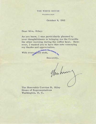 """JOHN F. KENNEDY (1917-1963). Kennedy was the Thirty-Fifth President. TLS. 1pg. 6 ¾"""" x 9"""". Octob..."""